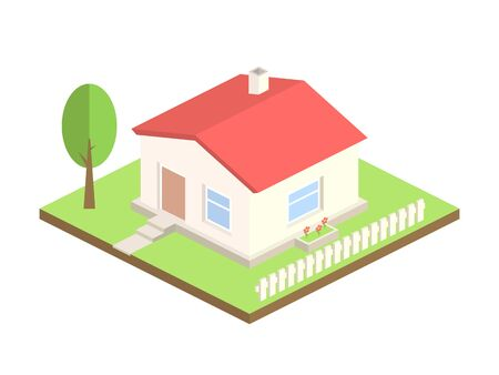 Isometric house on white background. 3d cottage with tree and fence. Real estate or home concept. Beautiful country house with red roof. Apartment for rent. Vector illustration.