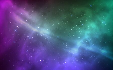 Space background. Magic stardust and shining stars. Bright milky way. Violet and green cosmos with realistic galaxy and nebula. Starry wallpaper. Vector illustration.