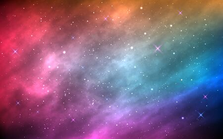 Space background. Color nebula with shining stars and stardust. Abstract futuristic backdrop. Realistic colorful galaxy. Brochure, poster or banner template. Vector Illustration. Çizim
