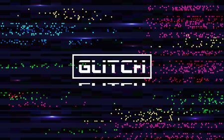 Glitch pixel backdrop. Glitched color lines. Digital distortion effect. Abstract colorful noise. Video TV problems texture. VHS error template. Horizontal bright lines. Vector illustration.