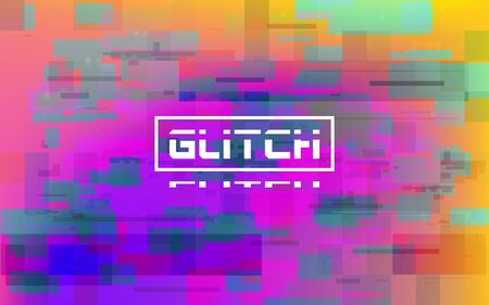 Glitch pink and yellow. Damaged data template. Digital vibrant effect with random color shapes and pixels. Error visualization. Modern television glitch. Vector illustration. Çizim