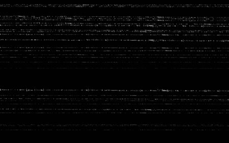 Glitch VHS template. Old video effect on black backdrop. Horizontal random white lines. Retro tape texture with distorted elements. Analog videotape. Vector illustration.