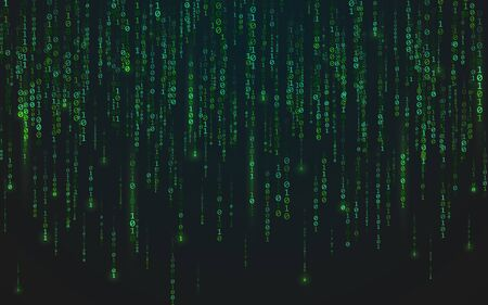 Binary matrix background. Green falling digits. Running bright numbers. Abstract data stream. Futuristic code backdrop. Cyber system concept. Vector illustration Çizim