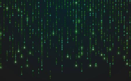 Binary matrix background. Falling random numbers on dark backdrop. Running bright code. Futuristic data concept. Abstract green digits. Vector illustration