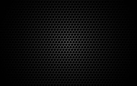 Hexagon metal mesh. Dark grid texture with shadow and light. Industrial backdrop with cells. Black perforated metal for poster, banner, web. Vector illustration