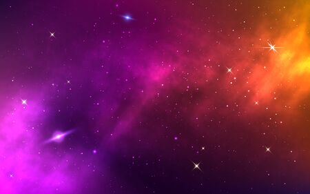 Space background. Yellow colorful galaxy. Realistic purple nebula with stardust and planet. Shining stars in cosmos. Futuristic backdrop for poster, brochure, banner. Vector Illustration. Фото со стока - 147277838