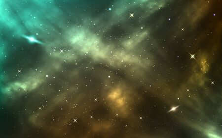 Space background. Realistic cosmic texture. Starry nebula and shining stars. Color galaxy with stardust and milky way. Outer space template. Vector illustration.