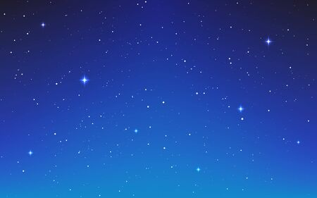 Space blue background. Cosmos neutral texture with white shining stars. Magic stardust universe. Starry color galaxy. Beautiful cosmic night. Vector illustration