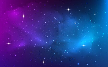 Space background with bright shining stars. Colorful starry cosmos with realistic nebula. Purple stardust galaxy. Magic night with milky way texture. Vector illustration.