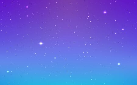 Space background. Soft purple cosmos with stardust. Magic infinite universe and shining stars. Colorful starry galaxy. Bright milky way. Vector illustration.