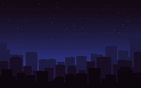 City silhouette night. Dark blue cityscape skyline. Urban view, buildings in the fog. Starry night sky and street panorama. Modern city and stars for poster, banner. Vector illustration