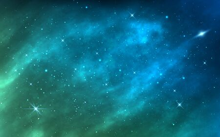 Space background. Bright milky way. Realistic cosmos texture with color galaxy and shining stars. Magic nebula with stardust. Starry space objects. Vector illustration. Çizim