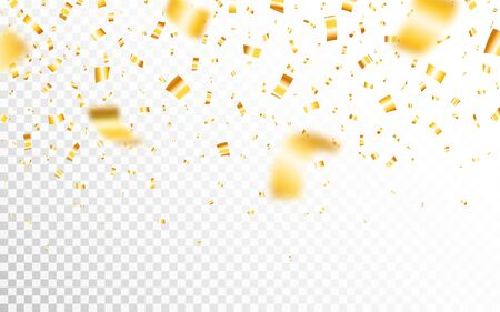 Gold confetti isolated on transparent backdrop. Defocused falling golden confetti. Bright festive tinsel and yellow serpentine. Luxury anniversary decoration. Vector illustration.