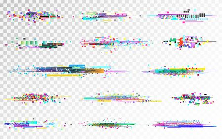 Glitch set on transparent backdrop. Digital distortion collection. Color pixel noise. No signal templates. Video data error. Futuristic disintegration template. Vector illustration