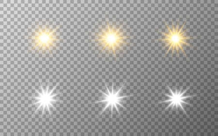 Luxury stars set. Gold and silver elements on transparent backdrop. Festive collection. Star burst effect. Magic sparkles for banner or poster. Vector illustration
