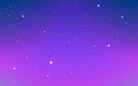Space background. Color milky way. Purple cosmos with shining stars. Colorful galaxy with stardust and nebula. Magic starry sky. Trendy vector illustration Çizim