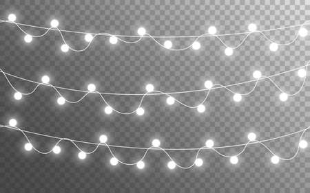 Christmas lights isolated on transparent backdrop. Glowing silver garland. Bright bulbs decoration. Festive shining elements. Realistic lamps for banner, poster or web. Vector illustration
