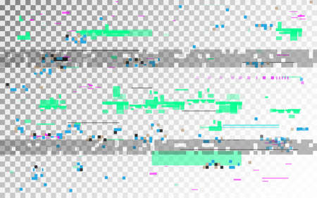 Glitch digital distortion on transparent background. Horizontal VHS noise and random elements. Old video template with color shapes. No signal template. Vector illustration Çizim