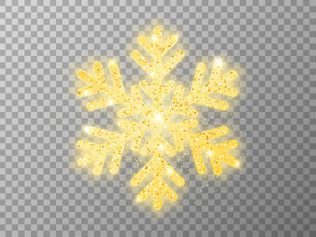 Gold snowflake on transparent backdrop. Christmas luxury element with bright glitter. Glowing flake with golden powder. Greeting card or advertising template. Vector illustration
