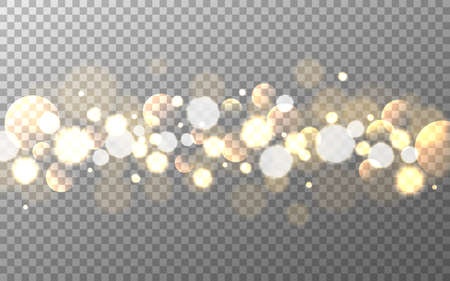Bokeh gold on transparent background. Soft gradient circles and bubbles. Glowing smooth elements. Realistic blurred sparkles. Light effect isolated. Vector illustration Çizim