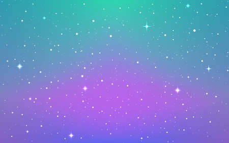 Space background. Soft purple cosmos with shining stars. Colorful starry galaxy. Bright infinite universe and stardust. Magic milky way. Vector illustration