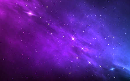 Space background. Color nebula with shining stars. Realistic cosmos with stardust and milky way. Magic starry galaxy. Infinite universe with constellations. Vector illustration Ilustración de vector