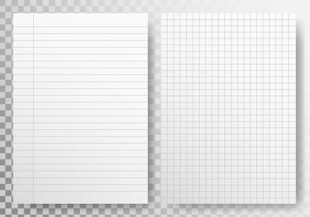 Paper lines template on transparent backdrop. Realistic sheet blank. Paper set with shadow. Note book page. Checkered white sheet. Lined paper mockup. Vector illustration