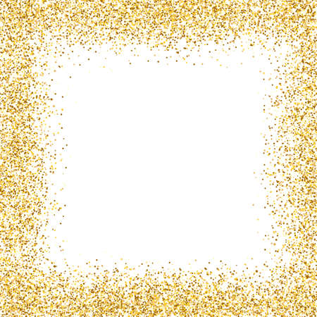 Glitter gold frame on white background. Golden border design. Luxury greeting card template. Shining confetti particles. Bright dust decoration. Vector illustration Vecteurs