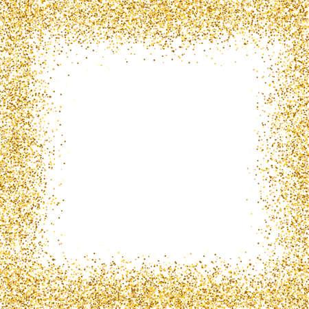 Glitter gold frame on white background. Golden border design. Luxury greeting card template. Shining confetti particles. Bright dust decoration. Vector illustration Vektorové ilustrace
