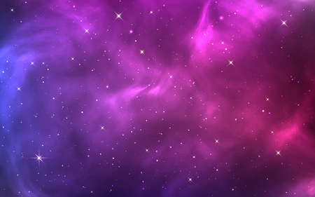 Space background. Bright purple cosmos. Magic stardust and shining stars. Colorful nebula and milky way. Realistic blue galaxy. Beautiful outer space. Starry universe. Vector illustration