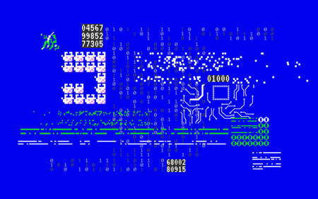 Glitch abstract shapes. System error with random numbers. Computer screen with broken code. Cyber security concept. Hacker attack or virus visualization. Vector illustration