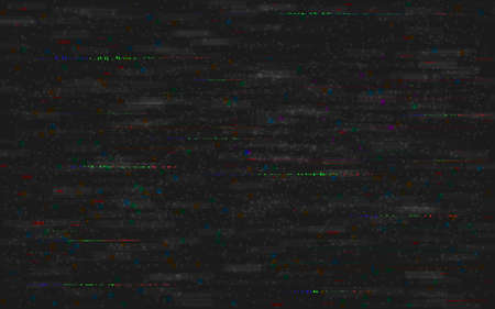 Glitch VHS background. Analog video distortions. No signal error. RGB pixel noise with distorted color lines. Television random shapes on dark backdrop. Vector illustration 矢量图像