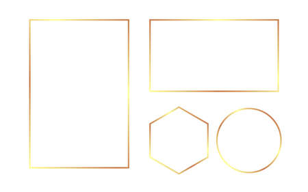 Gold frame set. Luxury border on white background. Wedding rectangle template. Glamour round and hexagon. Golden rich square. Vector illustration