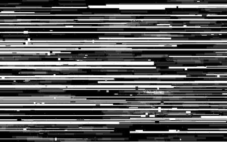 Glitch lines texture. VHS analog distortion. White and black horizontal lines. Analog tv stripes. Grunge wallpaper with broken signal. Dynamic video contrast. Vector illustration