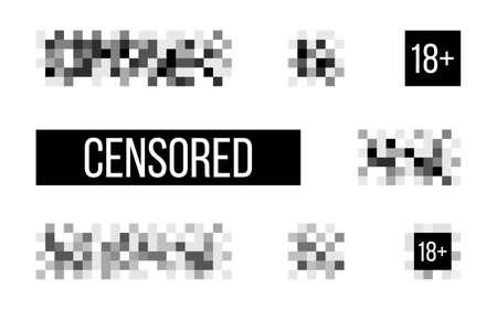 Censored signs on white backdrop. Rectangle censor template. Censorship pixel effect. Censure mosaic design. Blurry pixel symbol. Vector illustration 矢量图像