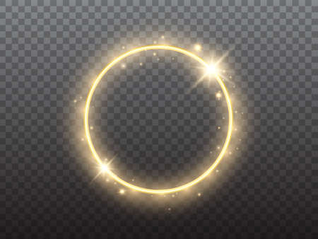 Gold circle on transparent backdrop. Glowing ring with yellow backlight. Round golden frame with bright glitter. Luxury element for advertising. Vector illustration 矢量图像