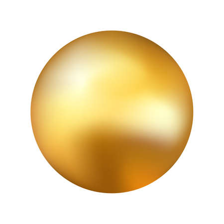 Gold ball on white backdrop. Realistic golden sphere. Yellow glossy element with reflections. Festive round object with metallic effect. Vector illustration