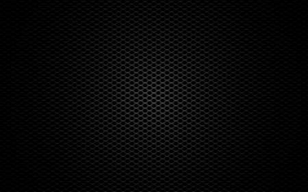 Metal mesh. Black perforated texture. Carbon backdrop with gradient light. Dark sheet metal. Steel plate with cells. Futuristic material. Vector illustration 矢量图像