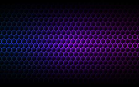 Hexagon purple background. Gradient cells texture. Futuristic color wallpaper. Modern neon design. Abstract geometric backdrop. Vector illustration