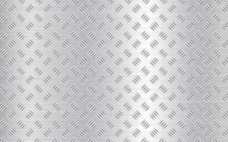 Diamond plate background. Realistic metal texture. Industrial construction. Silver steel or aluminum sheet. Iron material effect. Vector illustration