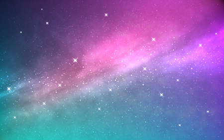 Space background. Northern lights effect. Realistic nebula with stars. Abstract cosmic backdrop. Cosmos with milky way. Color universe and stardust. Starry galaxy. Vector illustration.