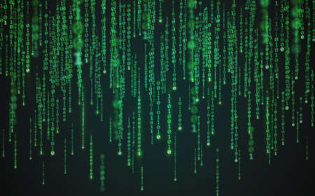 Matrix background. Binary code texture. Falling green numbers. Data visualization concept. Futuristic digital backdrop. One and zero digits. Computer screen template. Vector illustration