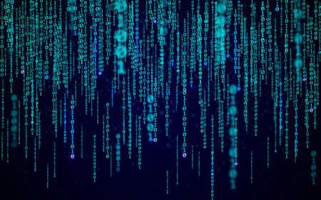 Matrix background. Binary code with random numbers. Modern technology wallpaper. Blue falling digits. Running data symbols. Abstract digital stream. Vector illustration