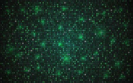 Binary code. Abstract matrix background. Futuristic data design. Digital green screen with data. Cyberpunk texture with random digits. Computer system concept. Vector illustration
