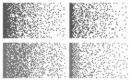 Disintegration visualization collection. Big data technology. Machine Learning concept. Abstract pixel mosaic. Technology of the future. Black and white pixels. Vector illustration 矢量图像