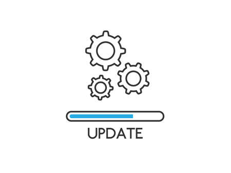 Update icon isolated white background. Upgrade system concept. Loading process or refresh. Application status in flat style. Updating app design. Vector illustration