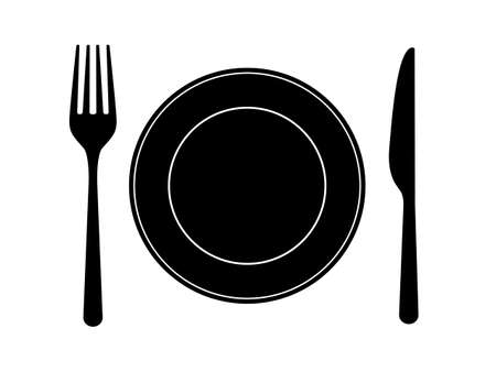 Dish fork knife icons. Cutlery design on white backdrop. Silverware in flat design. Food symbols for restaurant, bar, cafe. Tableware set. Vector illustration