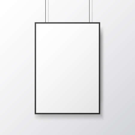 Poster mockup hanging on light wall. White template with frame. Isolated picture close up. Empty blank with soft shadow. Vector illustration