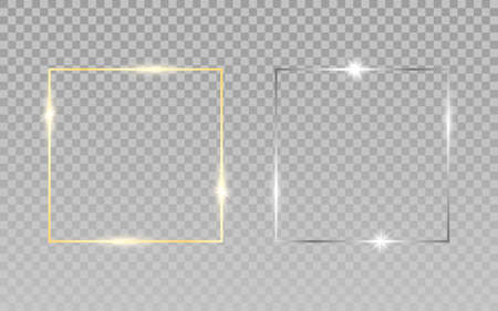 Gold silver squares. Luxury frames on transparent background. Wedding elements for greeting card or invitation. Realistic shiny borders. Vector illustration