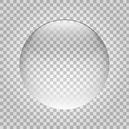 Sphere glass. Transparent ball with glasses. Crystal round object. Plastic glossy bubble. Clean 3d circle. Shiny globe with reflections. Vector illustration 矢量图像